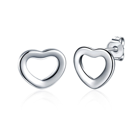 Heart Shaped Stud Earring - 18K White Gold Plated