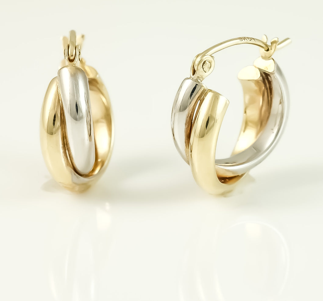 9ct 2 Tone Double Hoop Earrings
