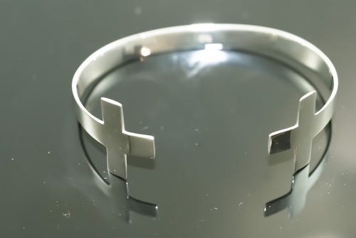 Sterling Silver Double Cross Arm Cuff