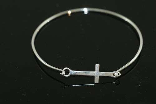 Sterling Silver Bangle with Small In-Line Cross