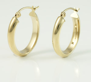 9ct Half Round Hoop Earrings