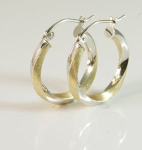 9ct 2 Tone Tubular Earrings