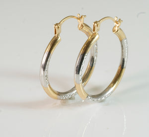 9ct Round 2 tone Tube Creole Earring med