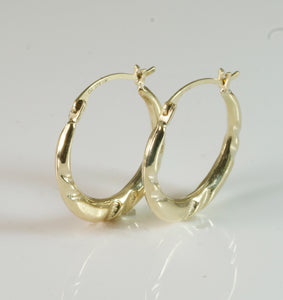 9ct Round Fancy Tube Creole Earring small
