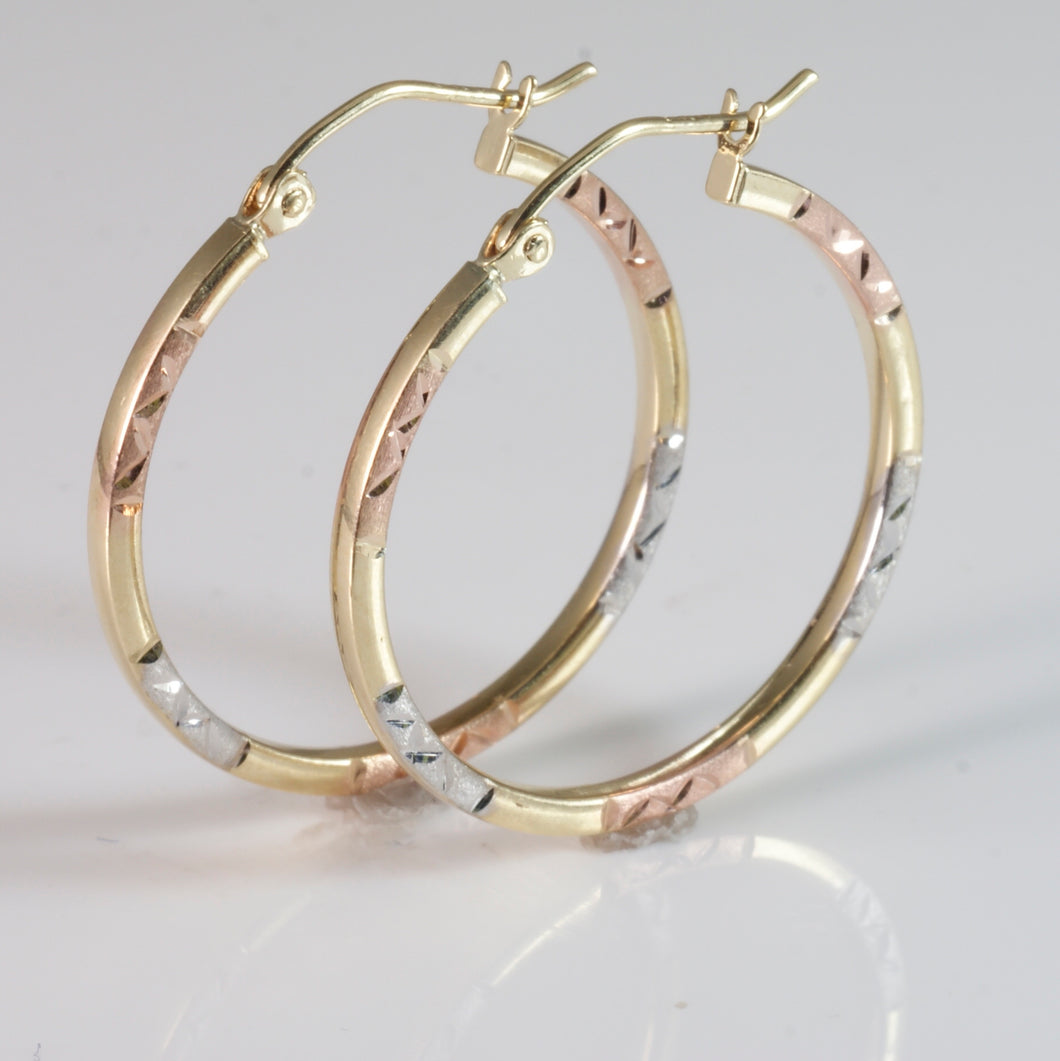 9ct 2 Tone Tube Earring