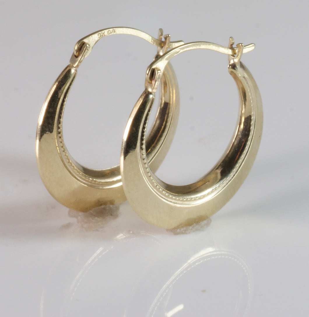 9ct Round Beaded Creol Earring