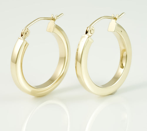 9ct Square tubular Hoop Earrings