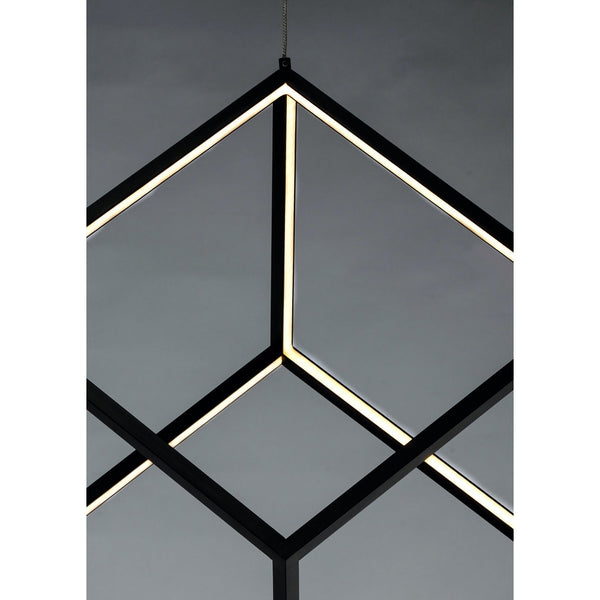 4 Square Black LED Single Pendant - Pendants