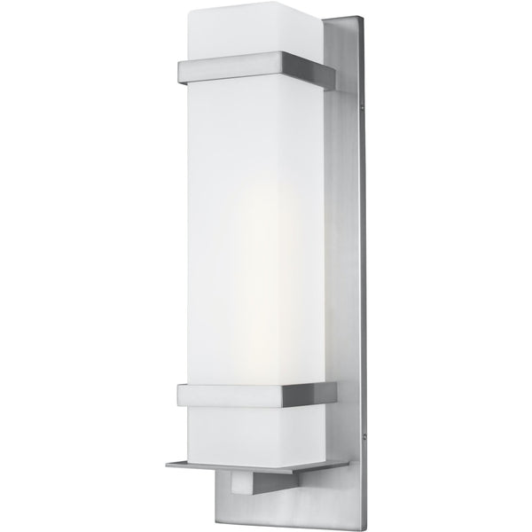 Alban Satin Aluminum Outdoor Wall Lantern - Outdoor Wall Sconce