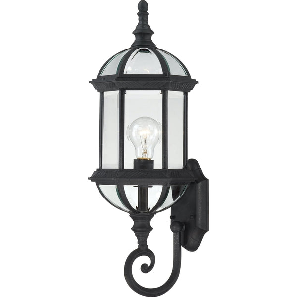 Boxwood Textured Black Outdoor Wall Lantern - Outdoor Wall Lantern