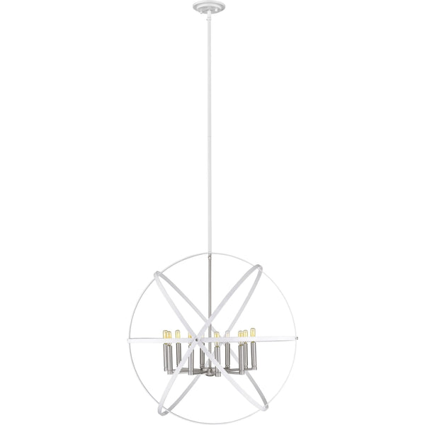 Cavallo Hammered White Brushed Nickel Chandelier - Chandeliers