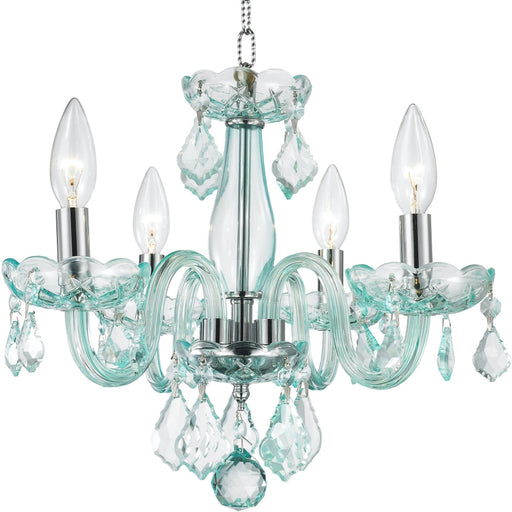 Clarion Polished Chrome Coral Blue Crystal 4 Light Chandelier - Chandeliers