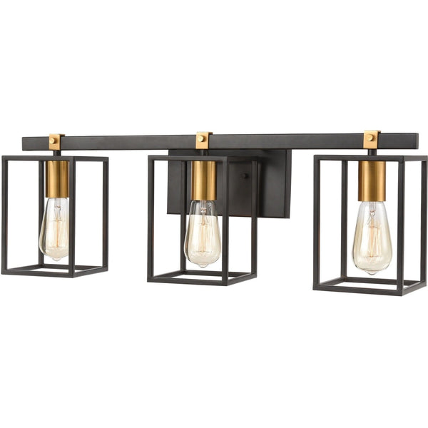 Cloe Matte Black Brushed Brass Vanity Light - Bath & Vanity