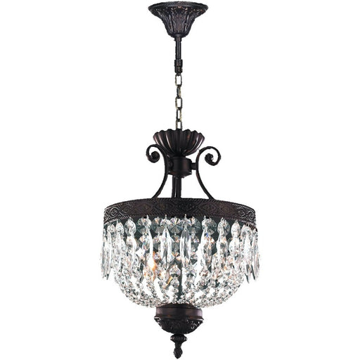 Enfield Dark Bronze Clear Crystal 3 Light Pendant - Pendants