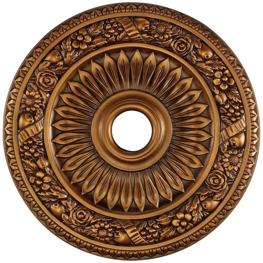 Floral Wreath Antique Bronze Medallion - Medallion