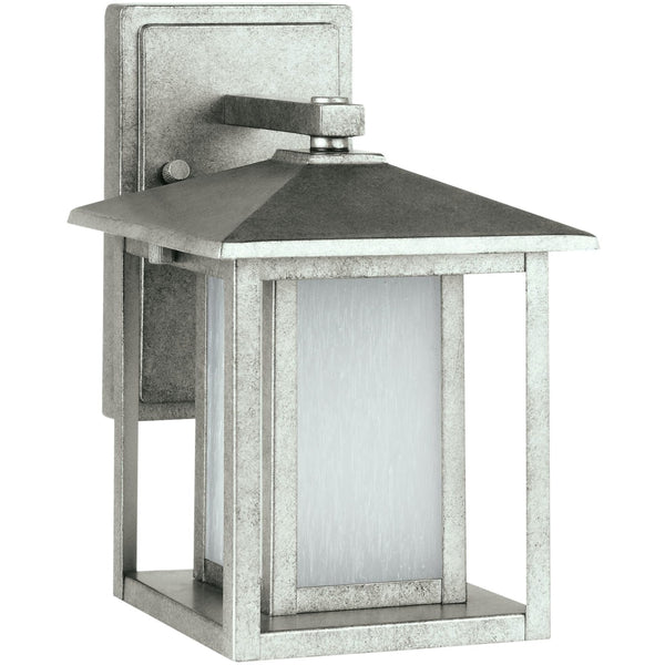 Hunnington Weathered Pewter LED Outdoor Wall Lantern - Outdoor Wall Sconce