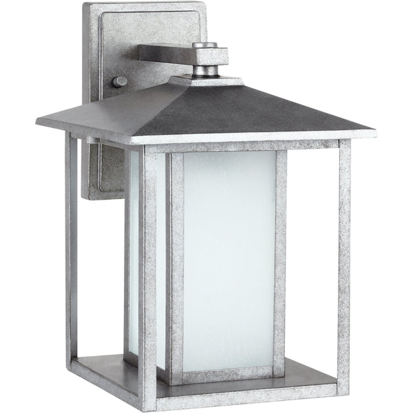 Hunnington Weathered Pewter Outdoor Wall Lantern - Outdoor Wall Sconce