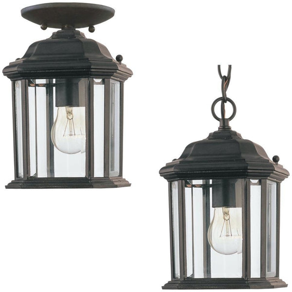 Kent Black Outdoor Semi-Flush Mount Convertible Pendant - Outdoor Convertible Pendant