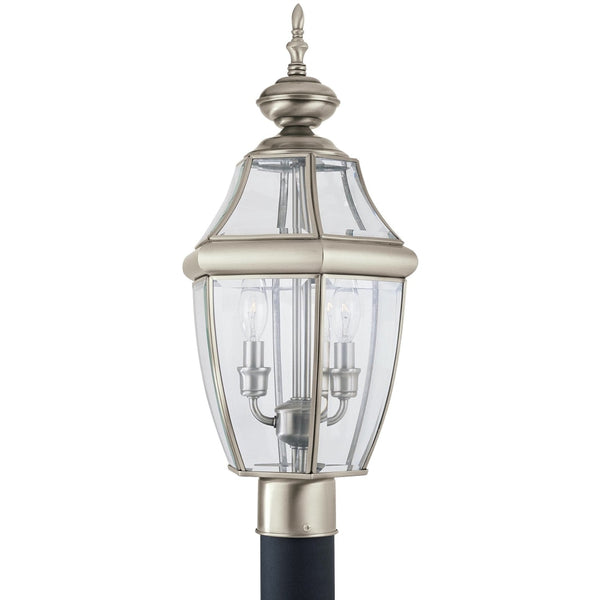 Lancaster Antique Brushed Nickel LED Outdoor Post Lantern - Outdoor Post Lantern
