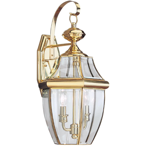 Lancaster Polished Brass LED Outdoor Wall Lantern - Outdoor Wall Sconce