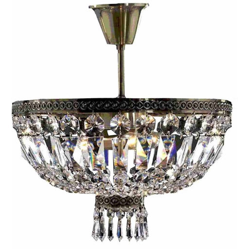 Metropolitan Antique Bronze Clear Crystal 4 Light Semi-Flushmount - Semi-Flushmounts