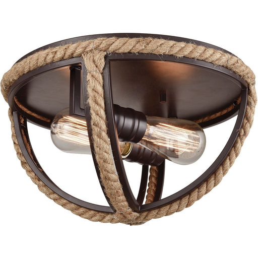 Natural Rope Oil Rubbed Bronze Flush Mount - Flushmounts