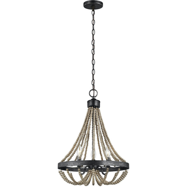 Oglesby Washed Pine Stardust LED Chandelier - Chandeliers