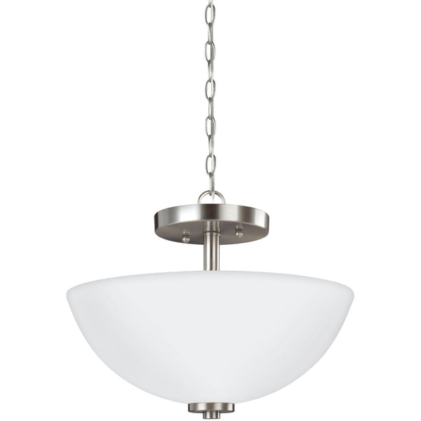 Oslo Brushed Nickel LED Semi-Flush Mount Convertible Pendant - Pendants