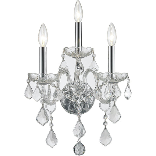 Provence Polished Chrome Clear Crystal 3 Light Wall Sconce - Wall Sconces