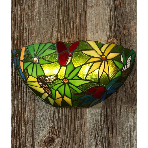 Stained Glass Rainforest Battery Operated LED Wall Sconce - Wireless Wall Sconce
