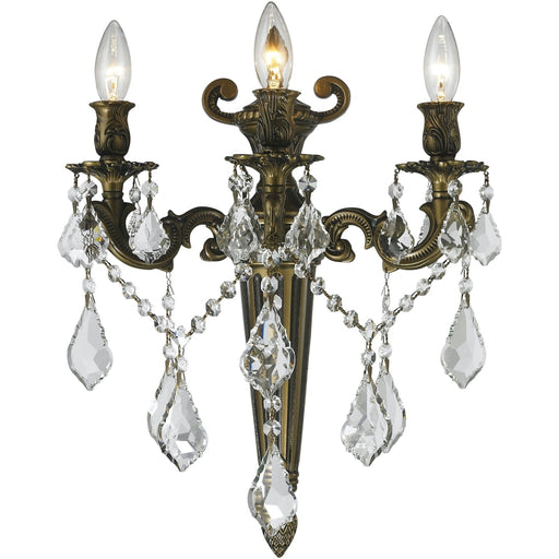 Versailles Antique Bronze Clear Crystal 3 Light Wall Sconce - Wall Sconces