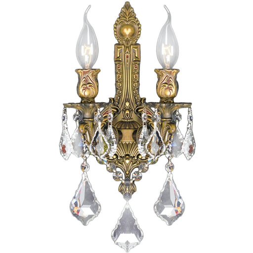 Versailles French Gold Clear Crystal 2 Light Wall Sconce - Wall Sconces