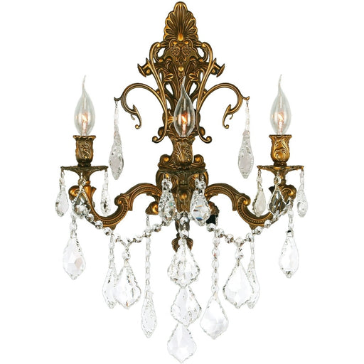 Versailles French Gold Clear Crystal 3 Light Wall Sconce - Wall Sconces