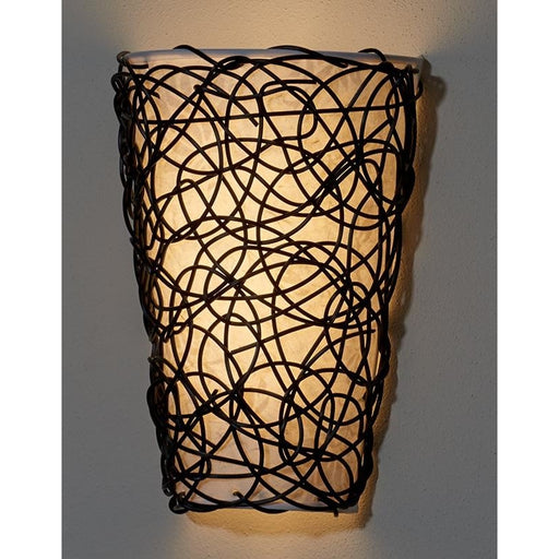White Shade with Black Wicker and Flicker Wireless Wall Sconce - Wireless Wall Sconce