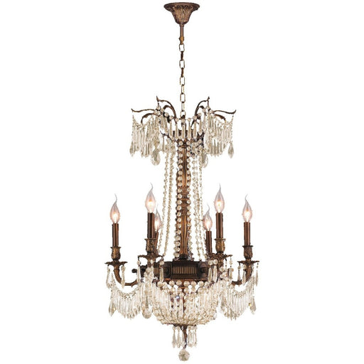 Winchester Antique Bronze Golden Teak Crystal 9 Light Chandelier - Chandeliers
