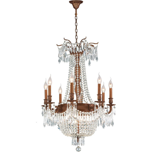 Winchester French Gold Clear Crystal 12 Light Chandelier - Chandeliers