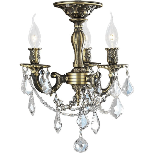 Windsor Antique Bronze Clear Crystal 3 Light Semi-Flushmount - Semi-Flushmounts