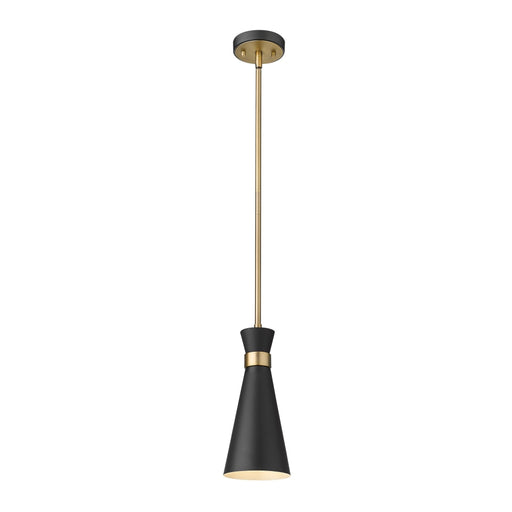 Z-Lite Soriano Matte Black Heritage Brass Mini-Pendant 728MP-MB-HBR - Mini-Pendants