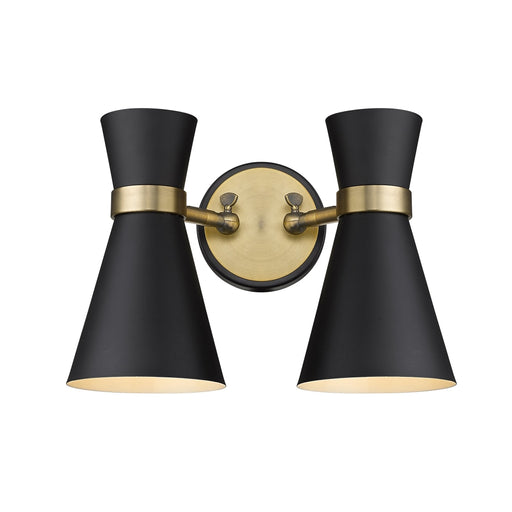 Z-Lite Soriano Matte Black Heritage Brass Wall Sconce 728-2S-MB-HBR - Wall Sconces