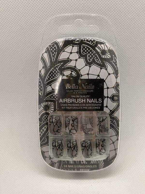 Bella Nails Airbrush Stick-on Nails - Silver and Black Floral-Nail Polish-Nail Polish Life