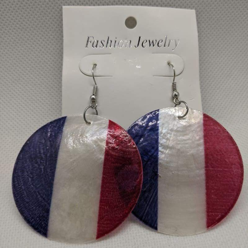 Fashion Jewelry - French Flag Circle Earrings-Nail Polish Life