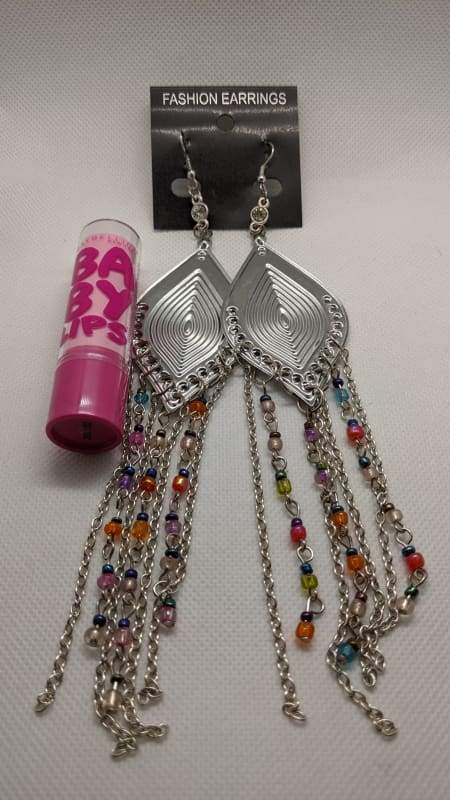 Fashion Jewelry - Large Dangle With Chain and Rainbow Bead Details - Silver-Nail Polish Life