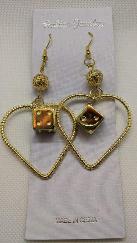 Fashion Jewelry - Lucky Dice Heart Dangle Earrings - Gold-Nail Polish Life