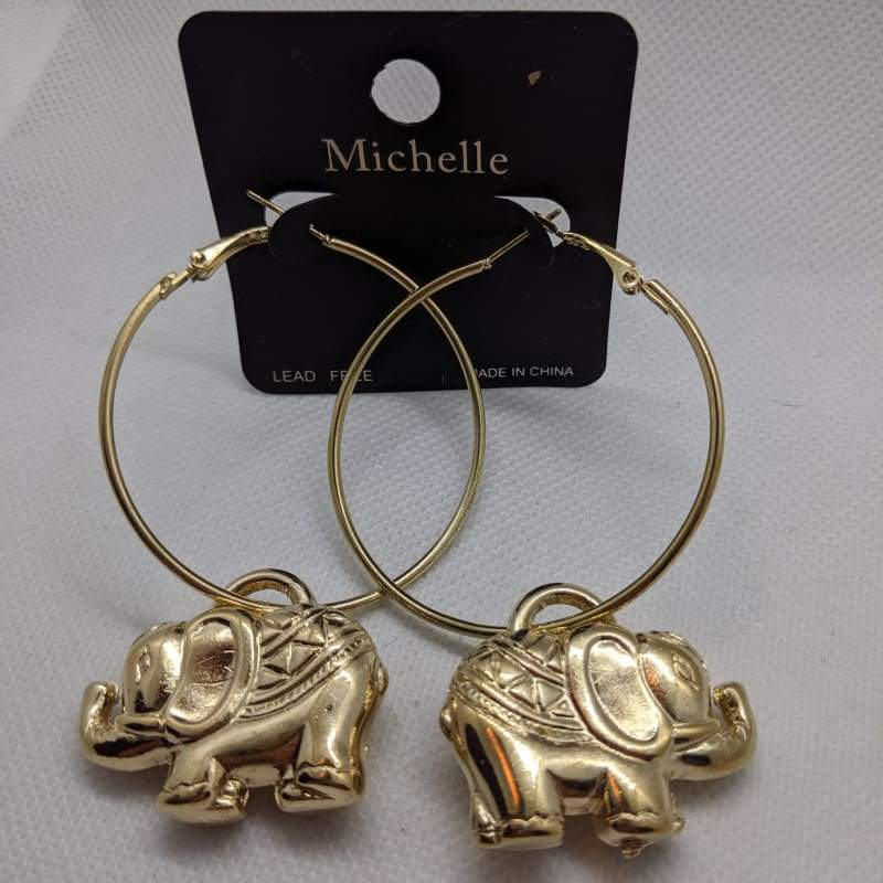 Michelle - Elephant Charm Hoop Earrings-Nail Polish Life