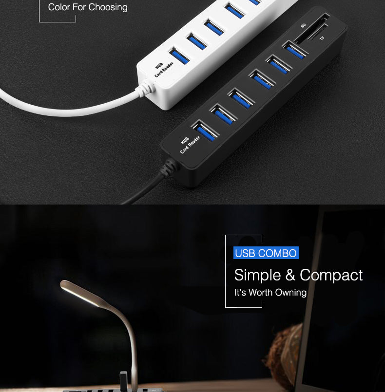 USB 3.0 Hub and Card Reader Combo For PC and Laptop