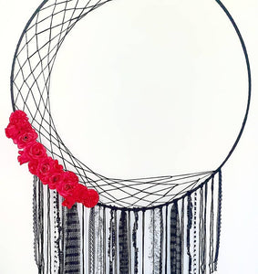100 cm Hoop Crescent Moon Gothic Dream Catcher - Ready Made