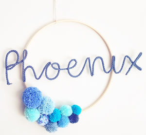 Pompom Named Wall Hanging with tassels - Bespoke