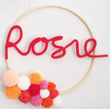 Load image into Gallery viewer, Pompom Named Wall Hanging with tassels - Bespoke