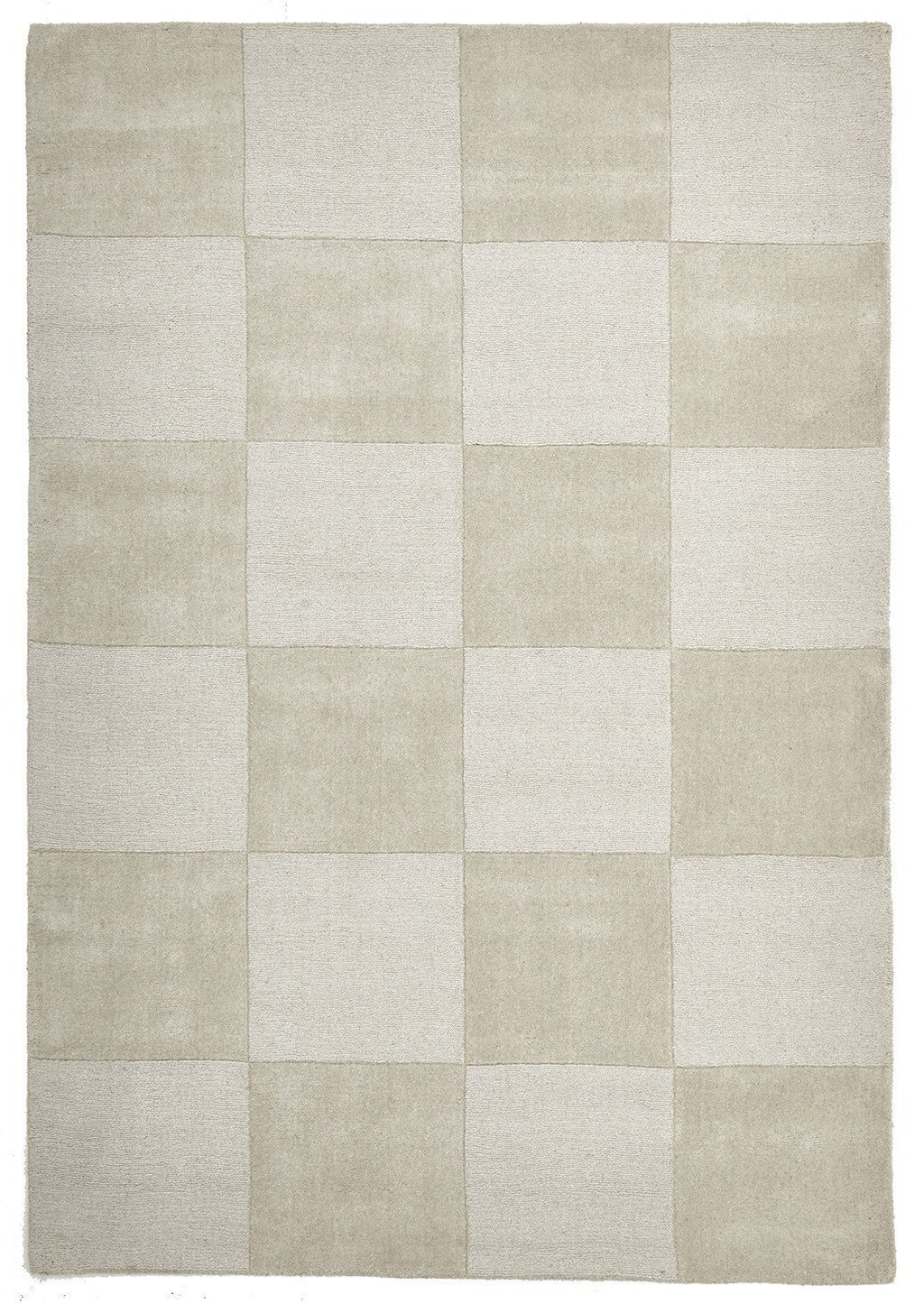 Timeless Boxed Pattern Wool Rug Oatmeal