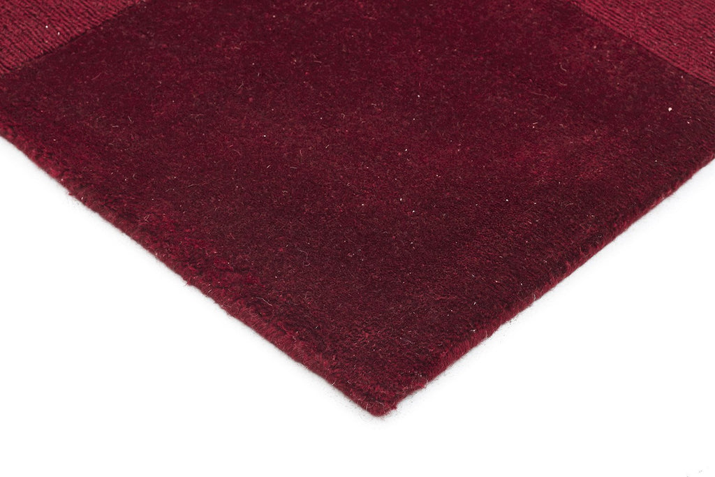Timeless Boxed Pattern Wool Runner Rug Red
